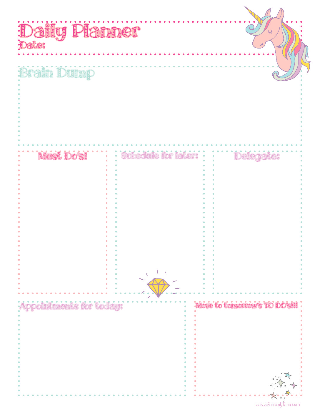 Unicorn Daily Planner Sheet Free Printable Sincerely Rina